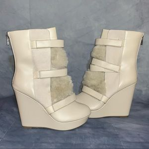 Juicy Couture Faux Fur Trim Boots JCAMICA White